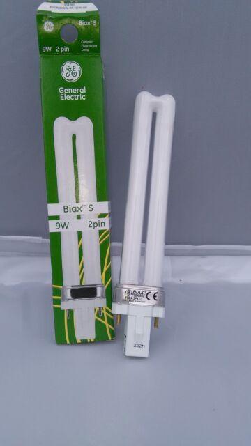 10x GE Biax 9W G23 2Pin Compact Fluorescent Energy Saving Lamp Light Bulb JobLot