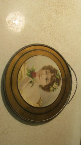 Antique Glass Flue Cover Lady and Rose