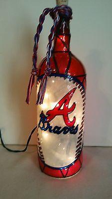Atlanta Braves Inspired Bottle Lamp Handpainted Lighted Stained Glass Look