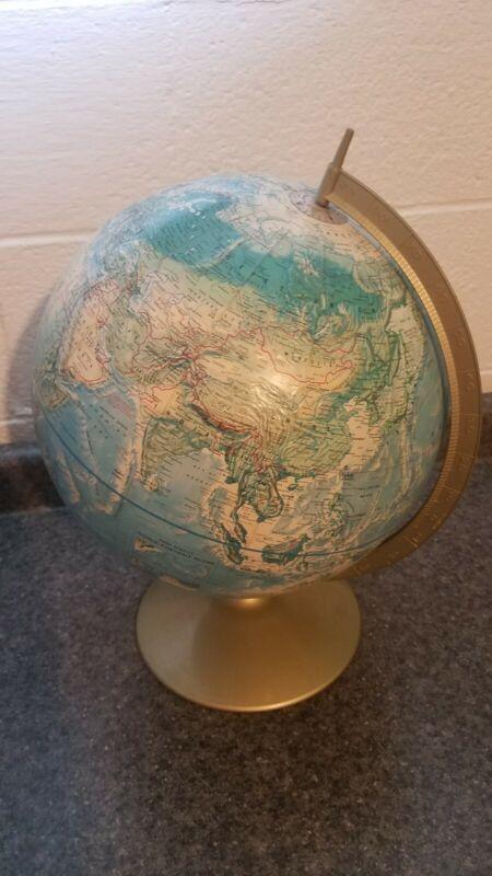 """VINTAGE RAND McNALLY WORLD PORTRAIT RAISED EARTH GLOBE METAL 12"""""""