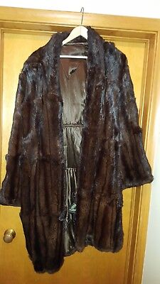 Vintage Womens Fur Coat 1940s Fashion Style Brown