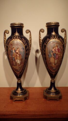 GREAT PAIR COBALT BLUE URN SIGNED & MARKED RAISED GILT SEVRES? FRENCH FRANCE