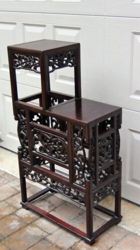 ANTIQUE CHINESE ROSEWOOD HANDCARVED PIERCED DRAGON STEP TANSU PLANT STAND #2