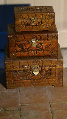 SET OF 3 ANTIQUE 19C WOOD HAND CARVED SMALL NESTING TRUNKS,CHESTS,COURT SCENE