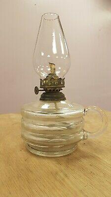 ANTIQUE ORIGINAL VICTORIAN CUT GLASS FINGER OIL LAMP