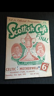 1951 Scottish Cup Final Motherwell v Celtic Collectors Programme