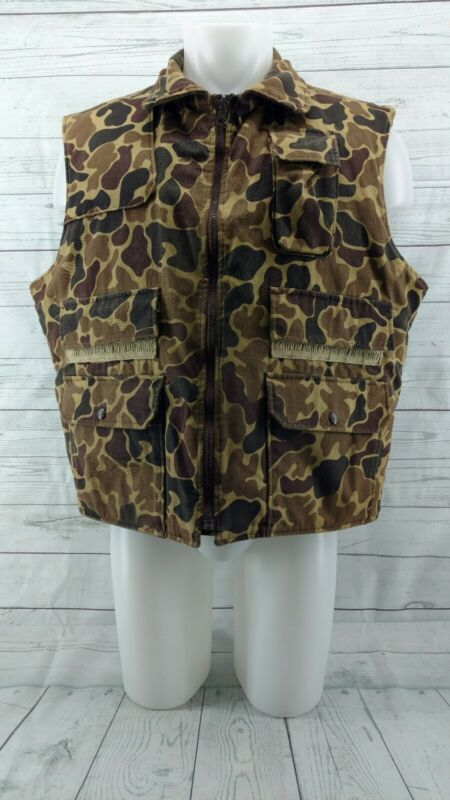 Vintage Woolrich Camo Rugged Hunting Vest Jacket Coat Reversible Mens XL