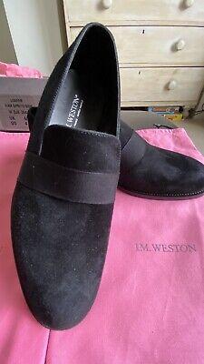 JM Weston Brand New Black Suede Loafer Size UK 4
