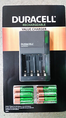 Duracell Rechargeable Battery CHARGER with 6 AA & 4 AAA Rechargeable Batteries  for sale  Shipping to India