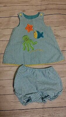 Austin & Ashley Seersucker Outfit Dress Bloomer Star Fish Applique 12-18 Month