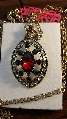 Betsey Johnson Fashion Jewelry Beauty Crystal Pendant Chain Sweater Necklace 171