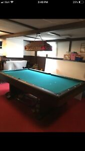 Pool table,  retro pool table lamp, table cover and accessories
