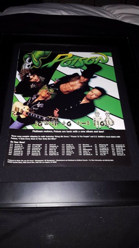 Poison Power To The People Rare Original Radio Promo Poster Ad Framed!