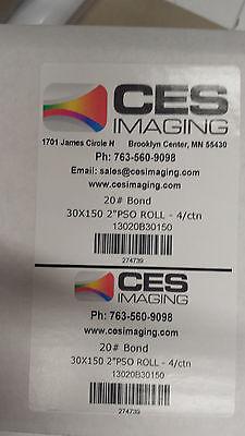 "4 Rolls 30""x150' 20lb Bond HP DesignJet Plotter Paper"