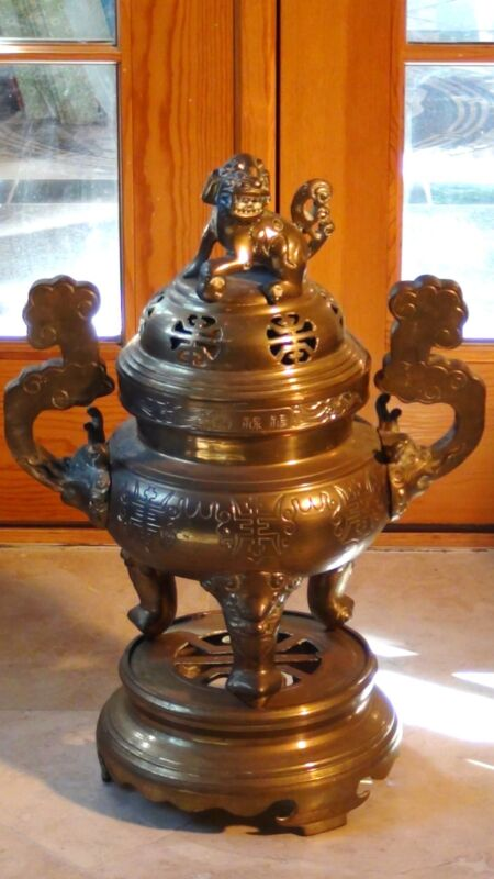 ANTIQUE 19c CHINESE LARGE BRASS,BRONZE INCENSE BURNER ON STAND ,FOO-DOG ON A LID