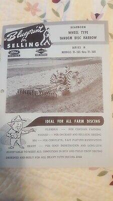 Vintage Blueprint For Selling Dearborn Wheel Type Tandem Disc Harrow
