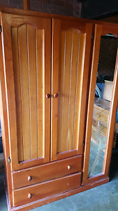 Solid Timber wardrobe+ 2 drawers metal rollers hanging space Shel Minto Campbelltown Area Preview