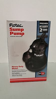 Flotec 1/3 HP Submersible Sump Pump with Tethered Switch **BRAND NEW** FP0S2400A