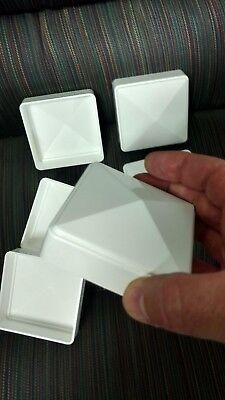 3x3 PVC Fence Post Flat Pyramid Horse Caps Tops Vinyl White 3 x 3 (6pc) USA MADE