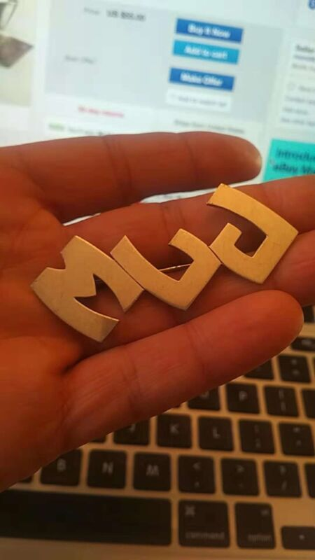"Nice Antique Sterling pin with letter ""MLJ"" from JEC&CO"