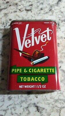 Vintage Velvet Pipe and Cigarette Tobacco Advertising Tin 1 1/2 OZ 2 Oz Pipe Tobacco