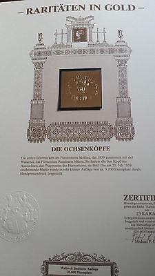 """Goldbriefmarke """"Ochsenköpfe"""" Rarität"""