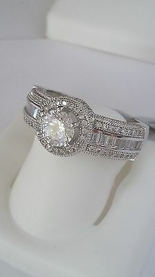 New ladies Fancy .925 Sterling Silver cocktail Ring Cz Stones Size 7