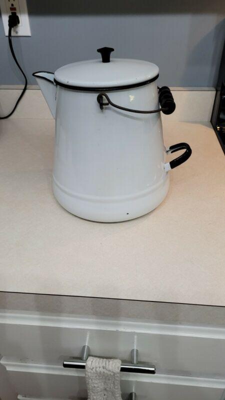 Large Vintage Enameld Ware White- Black Cowboy Coffee Pot With Lid