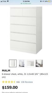 Brand new Ikea Malm chest 6 drawers- 90$