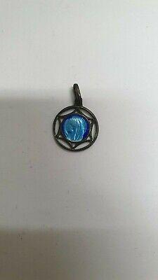 Pendant Religious Sterling Silver Openwork And Enamel Blue Virgin Marie REF47189