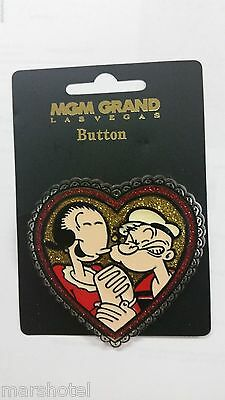 MGM GRAND HOTEL CASINO LAS VEGAS POPEYE THE SAILOR MAN & OLIVE OYL HEART PIN