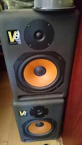 pair KRK V8 mk1 last of the californian built VXT8 with stands North Perth Vincent Area Preview