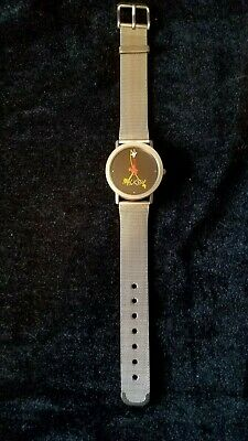 DISNEY TIME WORKS_RARE_VINTAGE_MICKEY MOUSE WATCH_ BRUSHED SILVER CASE_MESH BAND