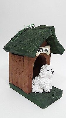 BICHON FRISE Dog House Country Christmas Ornament Wood Resin  ()