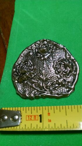 """Vintage Silver Tone Scarf Ring Scarf Clip Embossed Roses 1 3/4"""" x 1 3/4"""""""