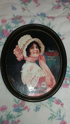 Vintage 1973 Reissue Coca Cola Advertising Tin Serving Tray Oval Lady Bonnet