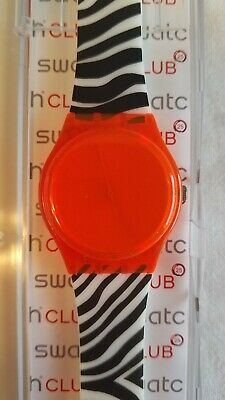 New Vintage Swatch Watch 2011 Orange Zeb/Zebra GO107 With Case NOS