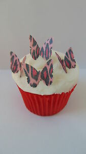 48 precut butterfly pink leopard print edible paper for Animal print edible cake decoration
