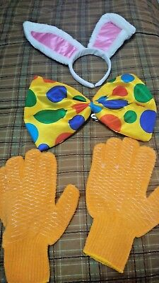 Roger Rabbit Costume Accessories - Bunny Ears, Bow Tie, Gloves - Halloween for sale  Greenville