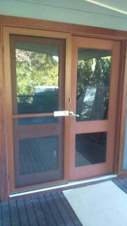 Double Entrance Wood Doors with Security Flyscreen Sandy Beach Coffs Harbour Area Preview
