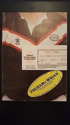 Fulham v Wigan Rugby League Programme & Match Ticket 14/09/80