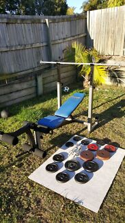 Health stream weight bench + weights, dumbbells  Carindale Brisbane South East Preview