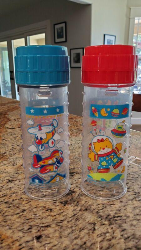 2 Decorated VINTAGE 8oz Playtex Nurser Baby Bottles Airplanes Outer Space