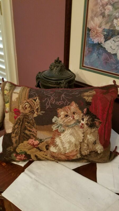 "VINTAGE CAT NEEDLEPOINT PETIT WOOL 3-KITTEN THROW PILLOW w/ ZIPPER (16"" × 12"")"