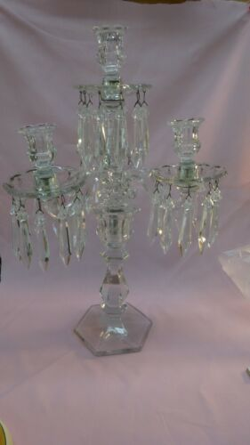 FOSTORIA?? GLASS 4 LITE CANDELABRA W/ PRISMS Height 20""