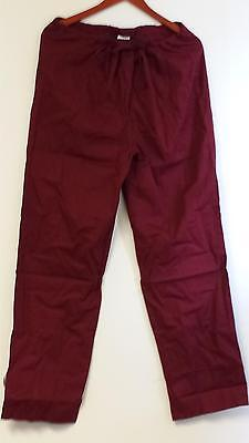 Unisex Medical Scrub Pant Straight Leg Drawstring Burgundy Wine Size 3X 3XL 3X-L