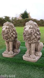 large stone lions pair reconstituted stone/concrete 60kg each