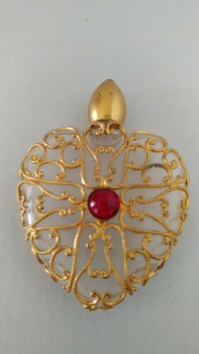 Vintage Perfume Bottle Elizabeth Arden My Love Filigree Heart Red Stones 1948