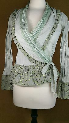 Womens Peplum Boho Victorian Blouse Lace Ruffled Sage Green Top Antilia Femme Sm