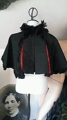 Antique Paneled Black & Iridescent Blood Red Blk Beaded Mourning Cape BEAUTIFUL